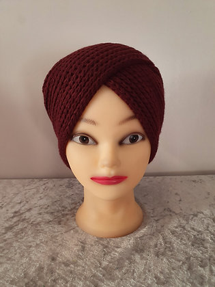 Hand Knitted Turban in Wine