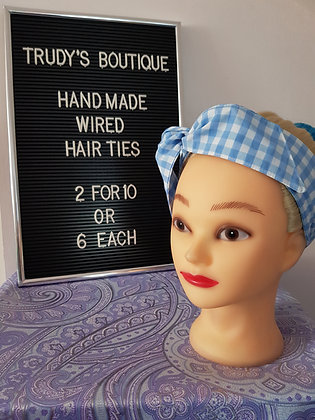 Baby Blue Gingham Large - Wired Hair Tie