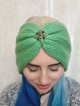 Light Green Double Width Knitted Ear Warmer