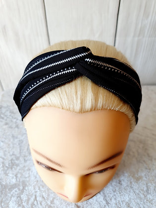Black Stripes and Dots Elasticated Head Band