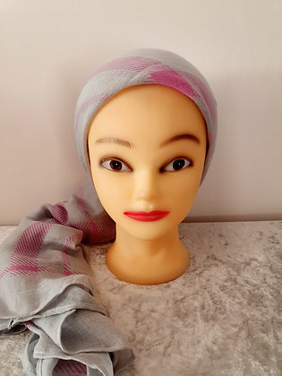 Pink and Grey Check Large Head Scarf
