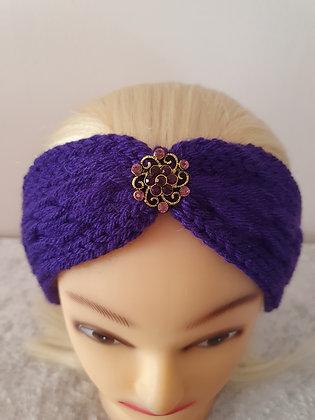 Deep Purple Pleat Knitted Head Band