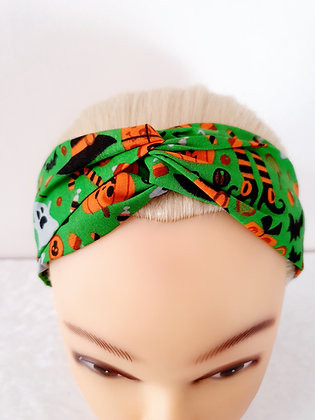 Spookies on Green Elasticated Head Band