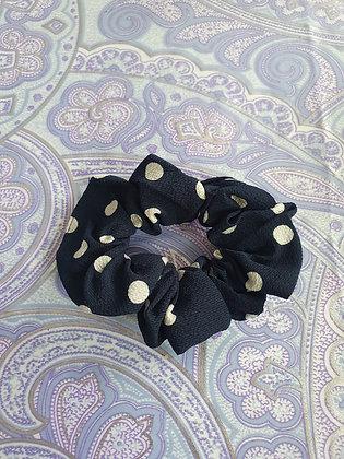 Hand Made Scrunchie - Navy Polka