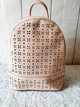 Leather Look Laser Cut Rucksack in Dusty Pink