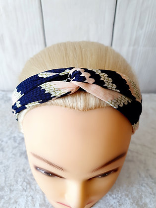 Navy Pink Shapes Elasticated Head Band
