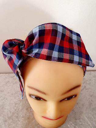 Navy and Red Gingham Wired Hair Tie