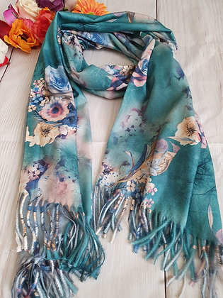 Floral Super Soft Scarf in Green