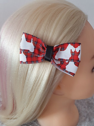 Black Scottie Tartan Hair Bow