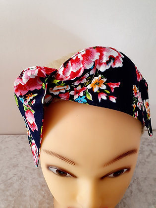 Bouquet on Navy Wired Hair Tie