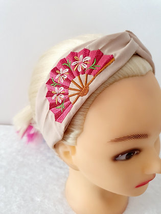 Embroidered Fan Elasticated Head Band