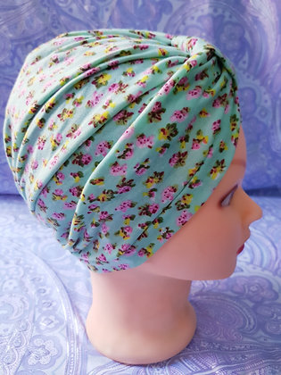 Ditsy on Light Mint Chemo Cap Turban