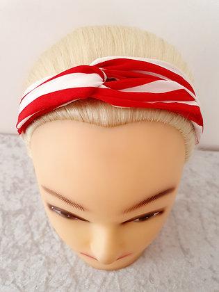 Red Stripes Elasticated Head Band