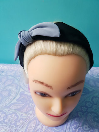 Black and Blue Bowed Head Band