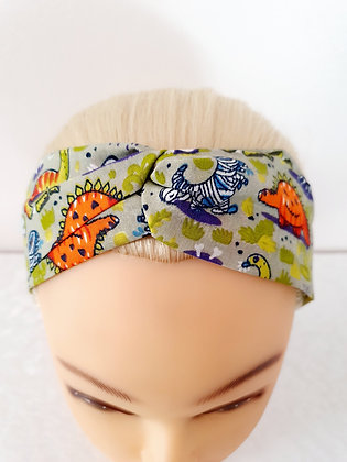 Spooky Dinosaurs on Grey Elasticated Head Band