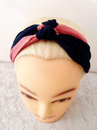 Pink and Navy Double Knot Elasticated Head Band