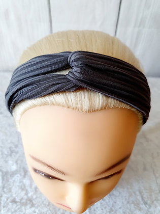 Grey Ribbed Elasticated Head Band