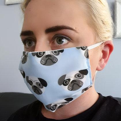 Pug Faces Blue Face Mask