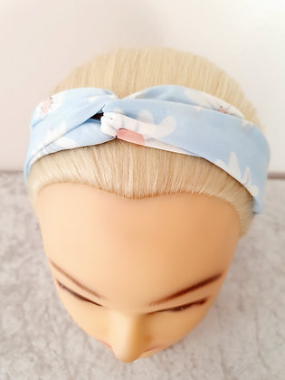 Pale Blue Daisy Elasticated Head Band
