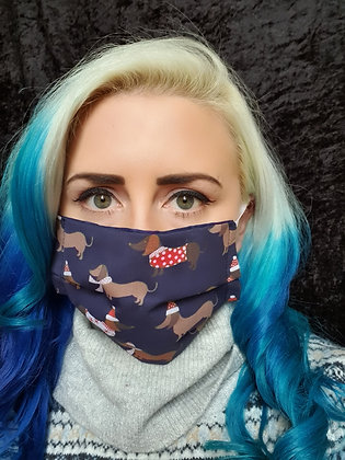 Navy Dachshund Christmas Face Mask