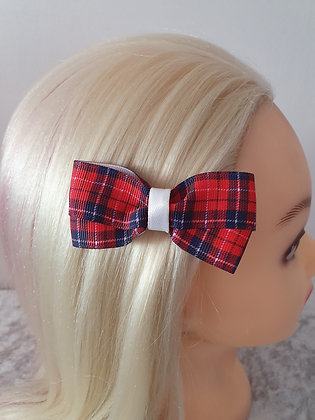 Red Tartan with White Hair Bow