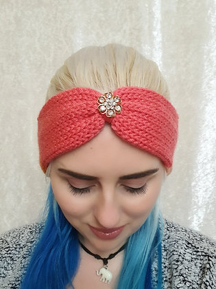 Peach and Pink Rainbow Knitted Head Band