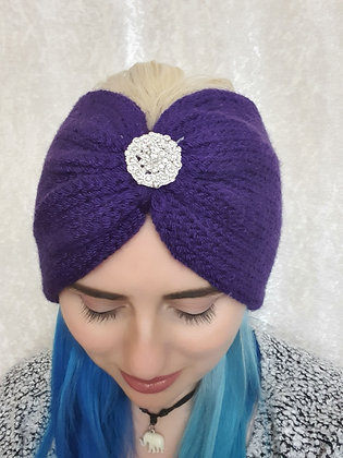 Purple Double Width Knitted Head Band