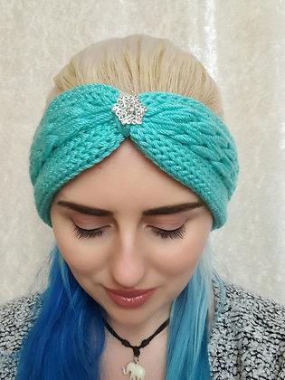 Cloud Blue Plaited Knitted Ear Warmer