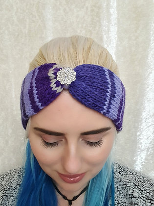 Purple and Silver Knitted Head Band