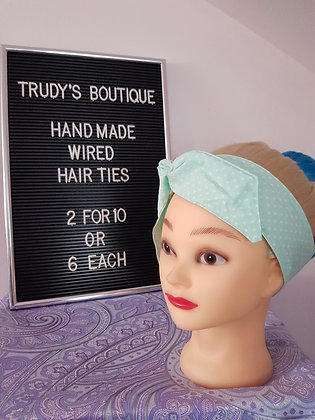 Polka in Mint - Wired Hair Tie