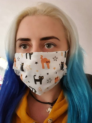 Cats on White Face Mask