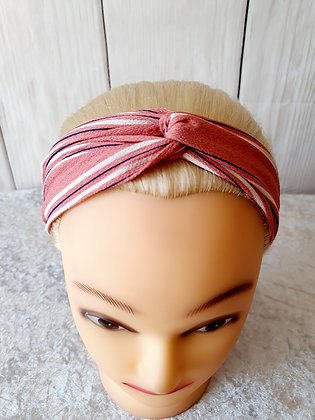 Pink Stripes Elasticated Head Band