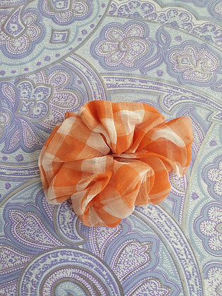 Hand Made Scrunchie - Orange Gingham