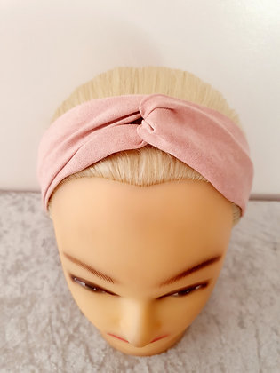 Faux Suede in Pink Elasticated Head Band
