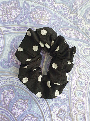 Hand Made Scrunchie - Black Polka