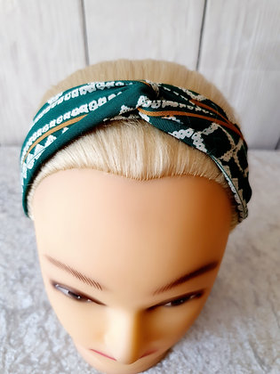 Green Shapes and Stripes Elasticated Head Band