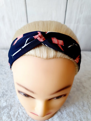 Navy Flamingo Elasticated Head Band