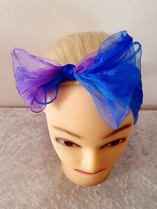 Two Tone Blue and Purple Chiffon Head Scarf