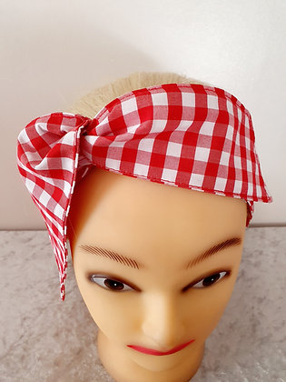 Red Gingham Large Wired Hair Tie