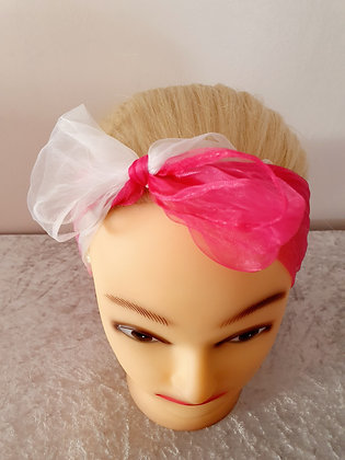 Two Tone Pink and White Chiffon Head Scarf
