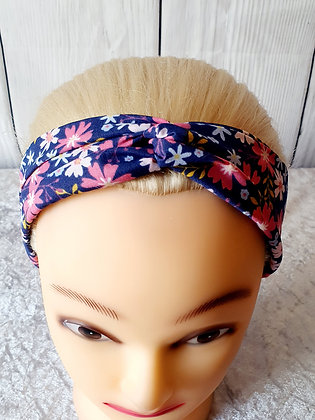 Navy Ditzy Elasticated Head Band
