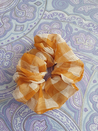 Hand Made Scrunchie - Mustard Gingham