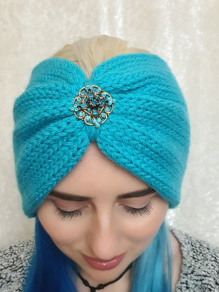Jasmine Blue Double Width Knitted Head Band
