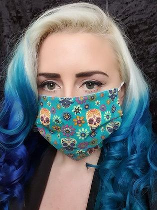 Candy Skulls Green Face Mask