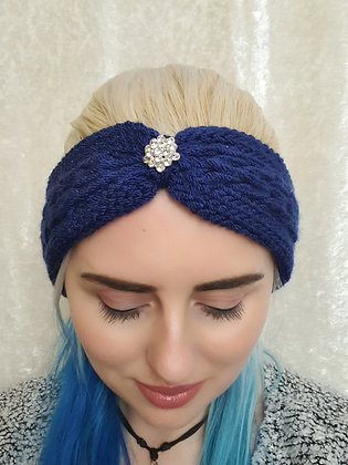 Navy Pleat Knitted Head Band