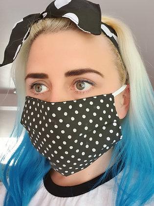 Black Polka Face Mask