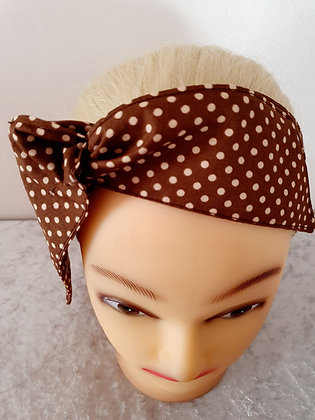 Brown Polka Dot Small Wired Hair Tie