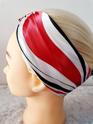 Black and Red Waves Silk Head Scarf