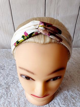 White Silk Floral Elasticated Head Band