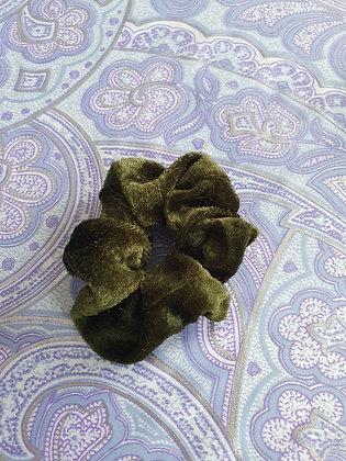 Hand Made Scrunchie - Khaki Velvet